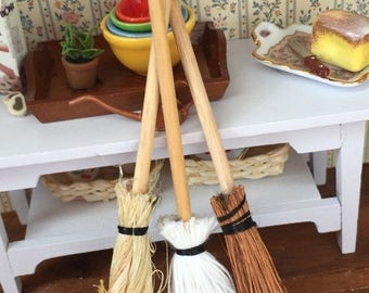 ON SALE Miniature Mops and Brooms, Packaged Set of 3 Pieces by Timeless Minis, Dollhouse Miniature, Dollhouse Accessory, Decor