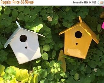 SALE Miniature White Metal Birdhouse, Fairy Garden Accessory, Miniature Gardening, Home and Garden Decor, Topper, Crafting