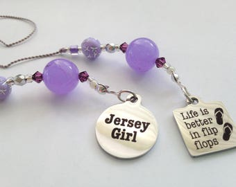 New Jersey Beaded Bookmark Girlfriend Gift-Jersey Girl Charm Silver Purple Flip Flops Summer Shore Book Thong Reading Love NJ State