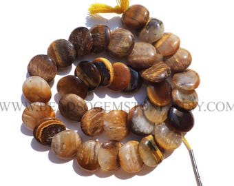 Tiger Eye Smooth Disc (Quality C) / 15 to 15.5 mm / 36 cm / TI-034, Semiprecious Stone