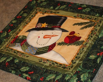Green Holly Snowman Red Bird 15 1/2  X 17 1/2   Quilted Table Runner Topper