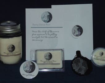 Moon Phase Gift Set, WANING GIBBOUS, Soy Candle, Wax Melts, Moon Key chain, Birthday Card, Button Pin