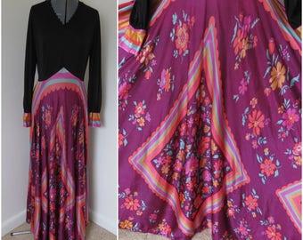 1970s Maxi Dress with Long Sleeves Full Skirt - Bust 38 Waist 28