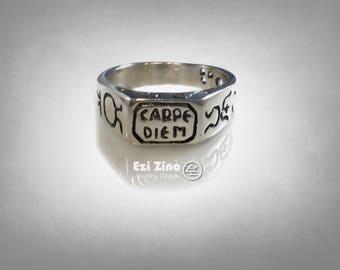 Carpe Diem Seize the Day sundial Sterling Silver RING By Ezi Zino