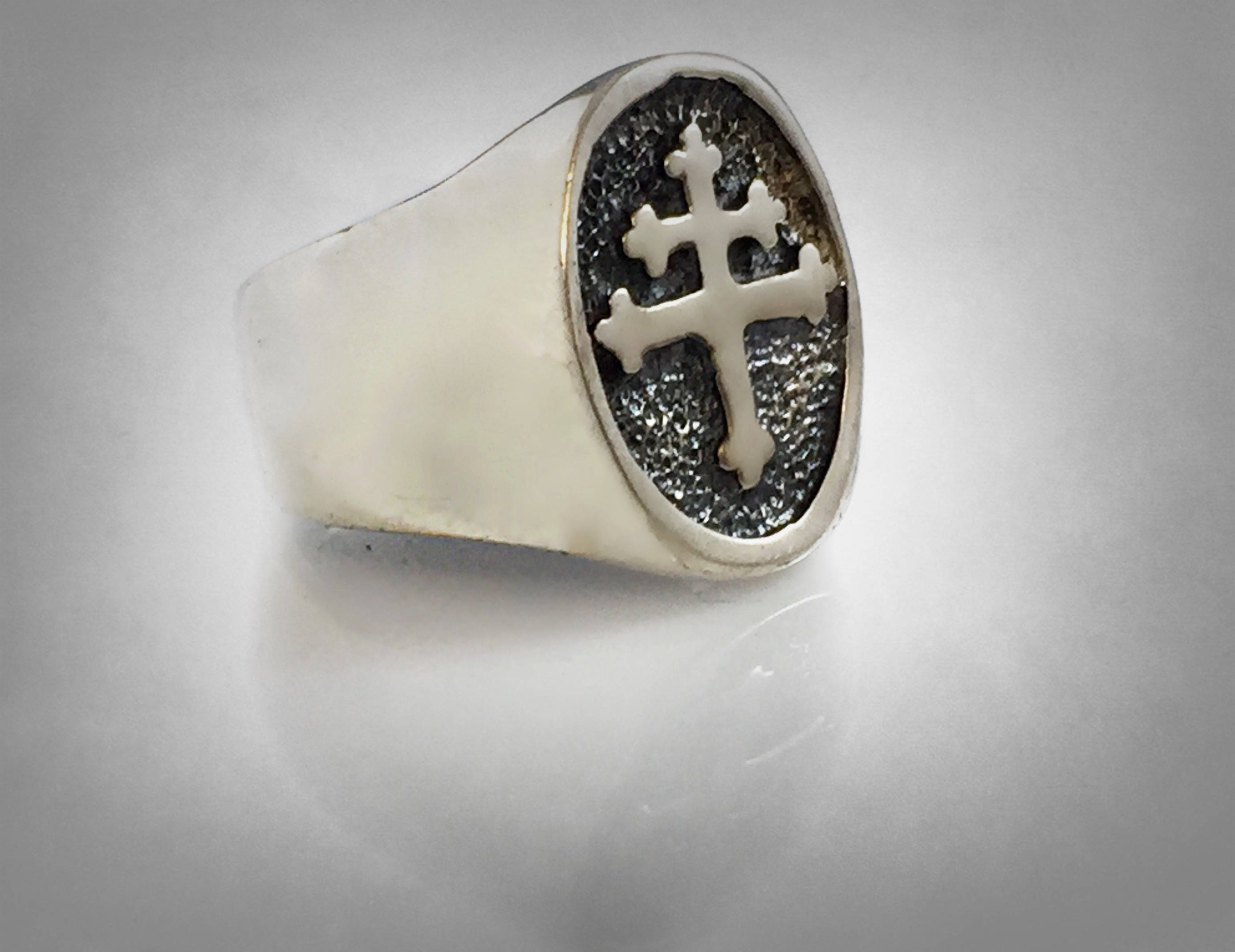 Cross Of Lorraine Magnum Pi Team Ring Sterling Silver 925