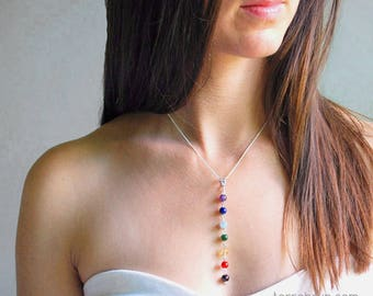 Chakra Necklace, Yoga Jewelry Gift, 7 Chakra Crystal Healing Pendant, Chakra Energy Stones  in Gemstones & Sterling Silver