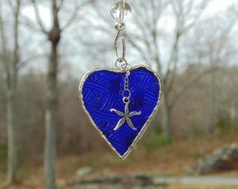 Starfish suncatcher, stained glass mini heart, sapphire blue heart, beach lover gift, silver star fish, heart ornament, suncatcher ornament