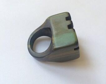 Oversize Olive Green Marble Bakelite Ring