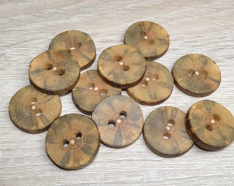 "12 Handmade  ash wood buttons, accessories ( 1,1"" diameter x 0,20"" thick)"