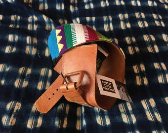 "25"" Waist Belt / Wide Vintage Leather Belt / Statement Belt / Guatemalan Embroidered Belt / Rainbow Belt"