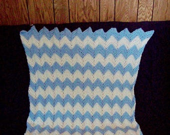 Chevron Throw , Baby Blanket , Light Blue And White Afghan , Crochet Afghan