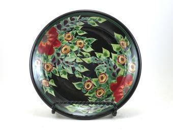 Black Porcelain Dessert Plate - Floral Ceramic Bread Plate with Red Flower Design - OOAK Pottery Dinnerware