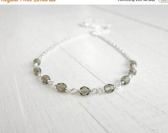 Summer Sale Sparkly necklace minimalist chain necklace grey bead necklace small bead necklace for women