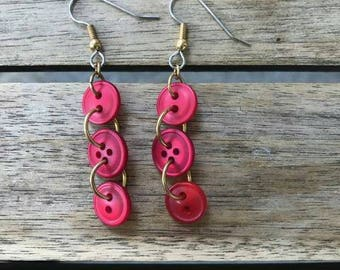 Red Drop Button Earrings One of A Kind