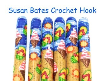 Crochet Hook, Polymer Clay Covered Susan Bates Crochet Hook, Summer Time, Beach
