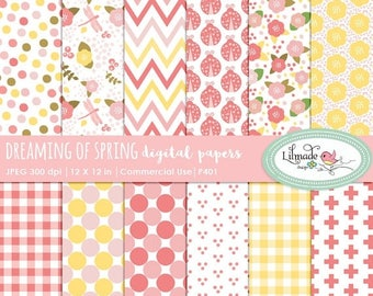 65%OFF SALE Digital paper, floral paper, chevron paper, spring paper, dreaming of spring scrapbook paper, patterned paper, commercial use, P