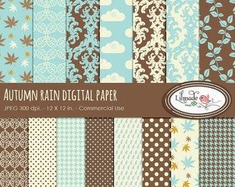 50%OFF Fall digital paper, damask digital paper, houndstooth digital paper, scrapbook paper, commercial use, Autumn rain digital paper