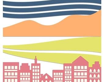 50%OFF Digital borders clip art, digital borders, trims clip art, skyline clipart, skyline border,  PNG template, Psd template, C294