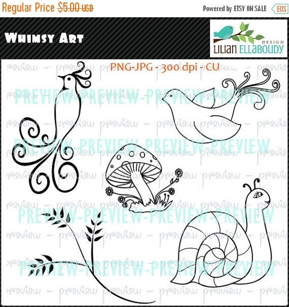 65%OFF SALE Digital stamps cliparts set featuring a cockatoo, toadstool house, dove, snail and tree branch, commercial use, instant download