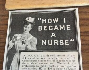 How I became a nurse ad The Chautauqua School of Nursing Jamestown New York circa 1905 Ad.