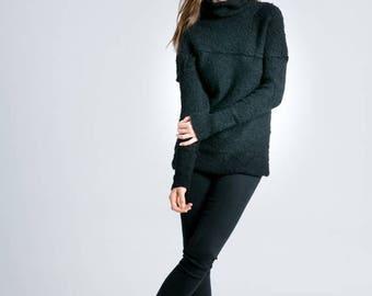 50% SALE Wool Sweater / Black Sweater / Black Jumper / Winter Sweater / Black Blouse / Knitted Sweater / marcellamoda k - MB790