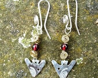arrowhead obelisk megalith earrings, sterling silver, SquareHare, free postage shipping, vegan UK, Celtic Druid Bronze Age magic Albion gift