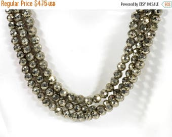 ON SALE Pyrite Beads Faceted Round Pyrite Beads Ball Beads Genuine Pyrite Earth Mined Gemstone  - 3-Inch Strand - 4 to 4.5mm - 25 Beads