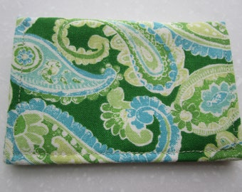 Business Card Holder, Minimalist Wallet, Travel Wallet, Slim Wallet, Credit Card Wallet, Card Case, BiFold Wallet, Paisley Print