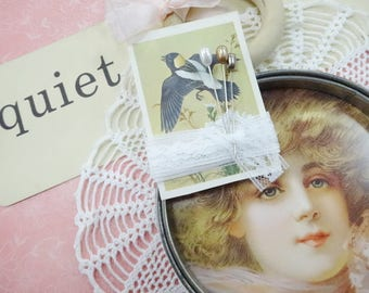 Quiet DIY Project Inspiration Supplies Lot Vintage Metal Embroidery Hoop Flashcard Corsage Pins Doily Lace Ect