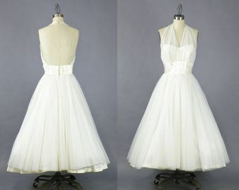 Vintage 50s Wedding Dress, 1950s White Tea Length Halter Dress, VLV Marilyn Monroe Pinup Dress, Sweetheart Dress, Party Dress