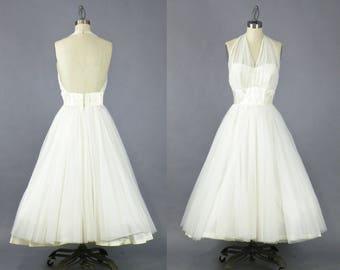 Vintage 50s Wedding Dress, 1950s White Tea Length Halter Dress, VLV Marilyn Monroe Pinup Dress, Sweetheart Dress, Party Dress
