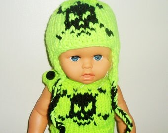 18 inch Doll Clothes, Skull Knit Hat with earflaps, Neon Yellow, fit American Girl Doll Clothes, Easter Gifts for Girls Birthday Gift