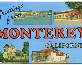 Greetings From Monterey California Large Letter linen postcard