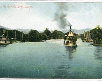 Steamer Boat Coquille River Oregon 1910c postcard