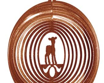 Lamb Sheep Copper Swirly Metal Wind Spinner