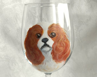 Hand Painted Cavi Wine Glass ~ Cavalier King Charles Spaniel ~ Pet Keepsake ~ Anniversary Gift ~ July Birthday ~ Ready to Ship