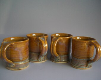Hand thrown stoneware pottery mugs set of 4  (M-8)