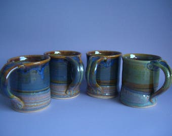 Hand thrown stoneware pottery mugs set of 4  (M-12)
