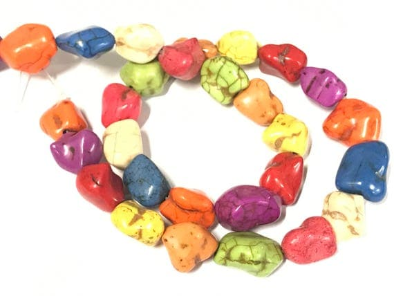 1 full strand - colorful turquoise howlite nugget beads orange yellow green mix - GM441