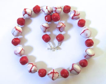 Red and White Kazuri Beaded Necklace, Ceramic Necklace, Kazuri Necklace