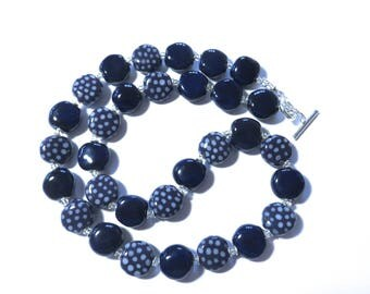 Navy Blue and White Kazuri Bead Necklace, Ceramic Necklace