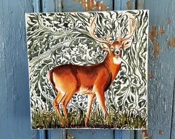 Deer in the Woods original acrylic aintng on re-purposed wood