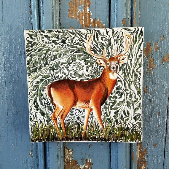 Deer in the Woods original acrylic aintng on re-purposed wood