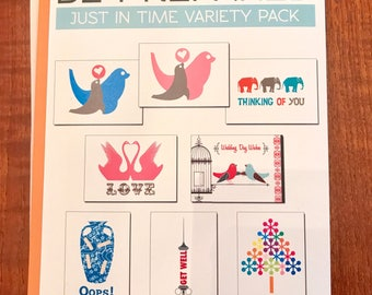 SALE - Just In Time Variety Pack of 8 Greeting Cards on 100% Recycled Paper