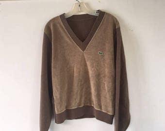 Beautiful Vintage Lacoste Velour V-neck Sweater In Mocha