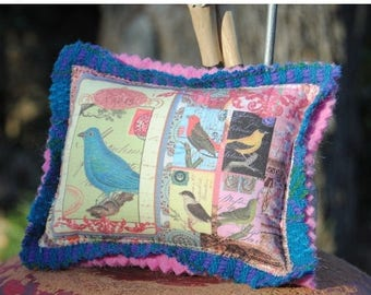 ON SALE 50% OFF Pin Cushion - Bluebird of Happiness Pincushion - Custom Collage Fabric Design - Pin Pillow