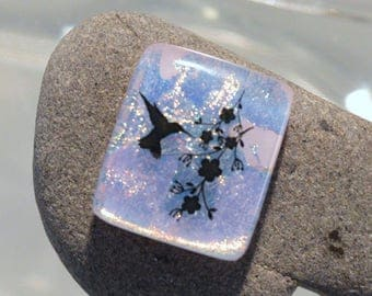 Fused Dichroic Glass Cabochon...HUMMINGBIRD...Cab for Jewelry Designers
