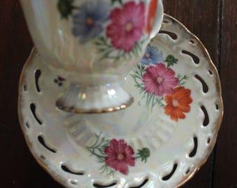 Vintage Japan Luster Ware Cosmos Flower 'October' Cup & Open Work Saucer