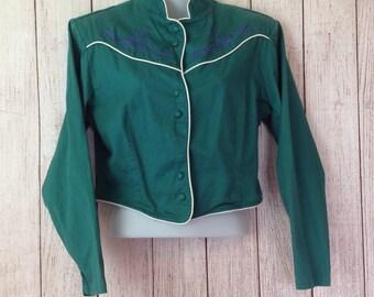 Vintage 90s Wrangler Long Sleeve Cropped Hunter Green  COuntry Western Shirt Ladies Medium