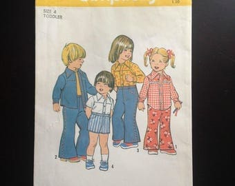 Vintage Simplicity 6779 Pattern Uncut Toddlers' Bell Bottom Pants or Shorts and Shirt Size 4